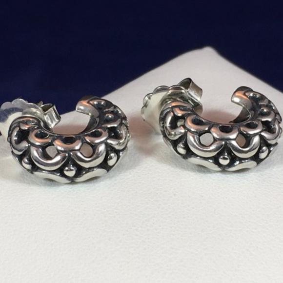 James Avery Jewelry Retired 925open Carved Hoop Earrings Poshmark